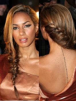 Leona Lewis elegant french braid into fishtail braid at Cannes Film Festival 2012